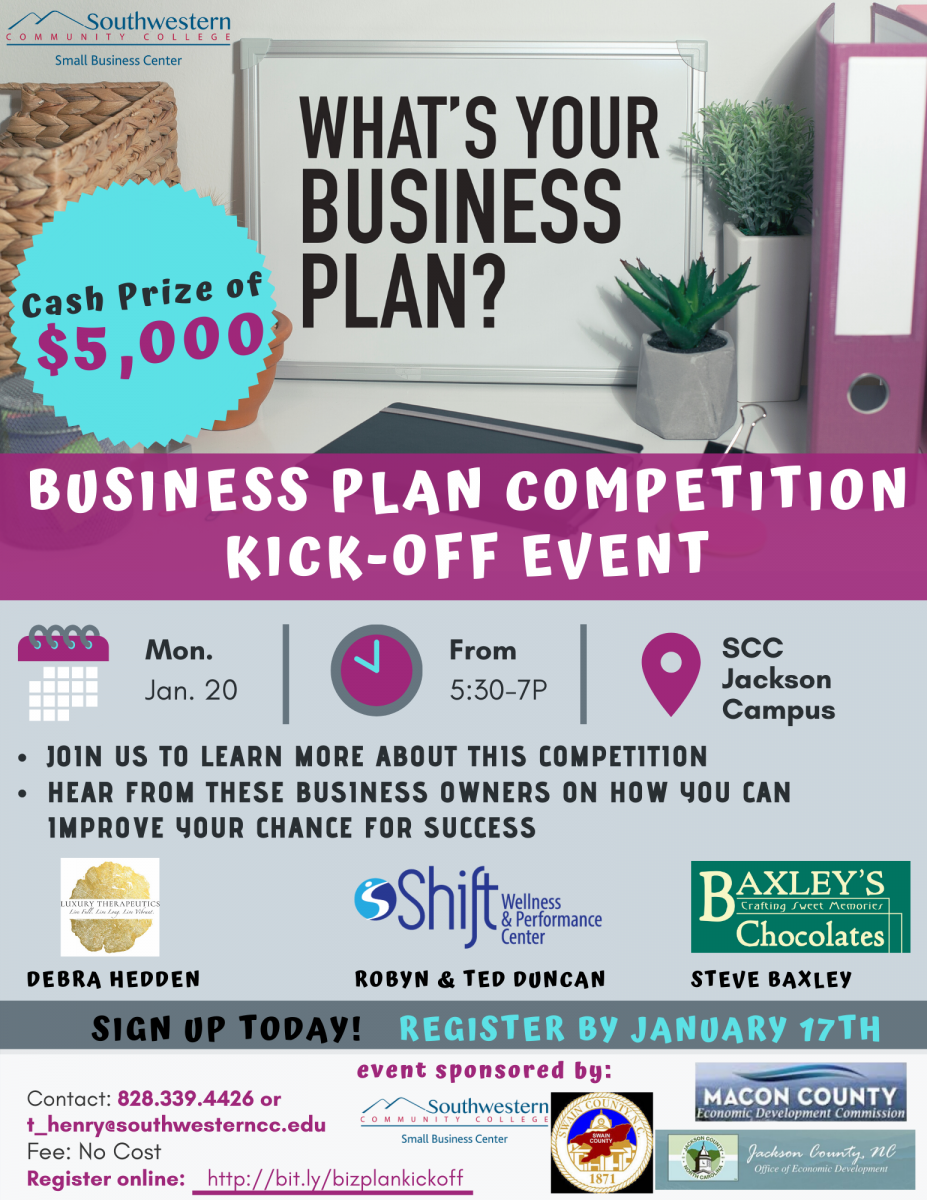 A flier advertising a kick off event for the regional business plan competition.