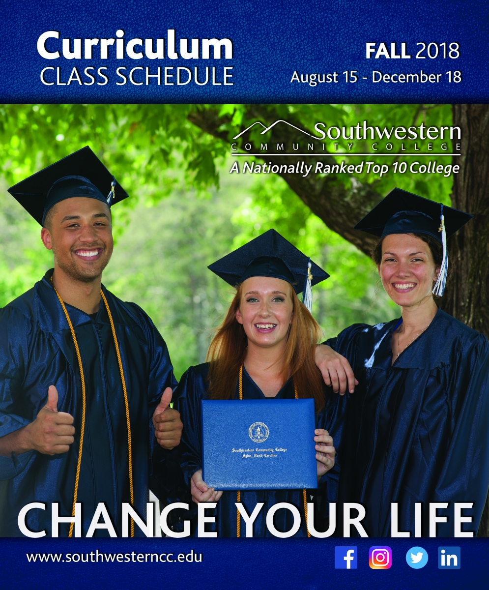 Cover image of Fall 2018, class schedule, featuring a young graduates smiling.