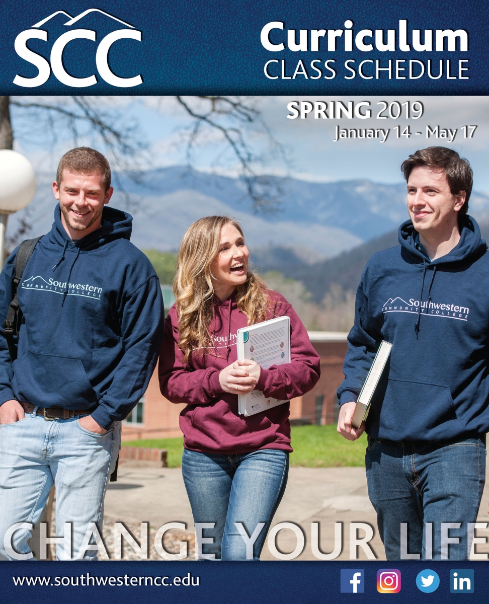 Cover image of Spring 2019, class schedule, featuring young students walking & talking.