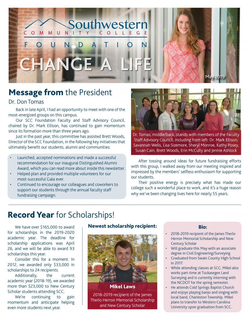 Cover of August, 2018, SCC Foundation Newsletter
