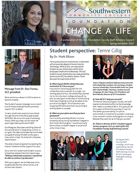 Cover of Spring, 2016, SCC Foundation Newsletter