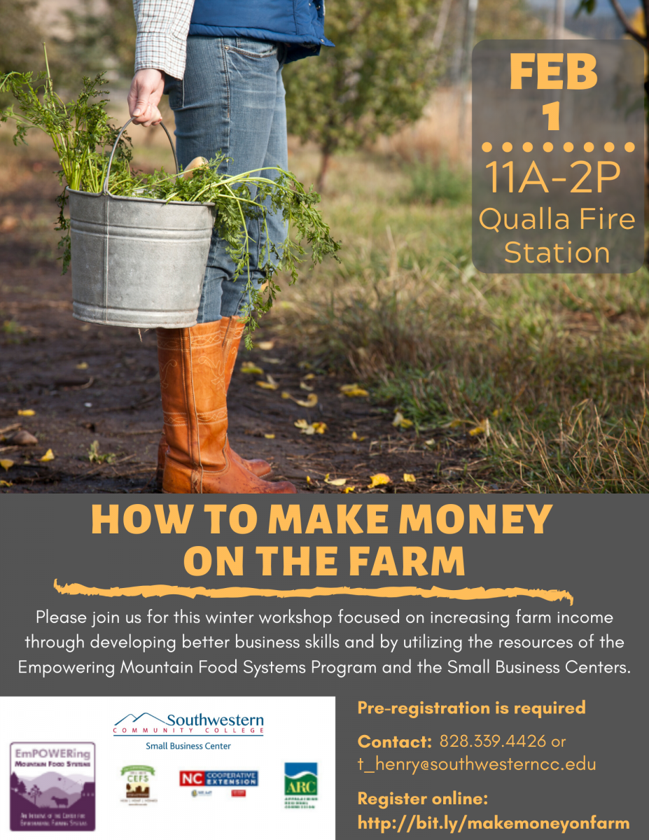 Flier advertising how to make money for farmers. A female farmer is holding a bucket outdoors on a sunny day.