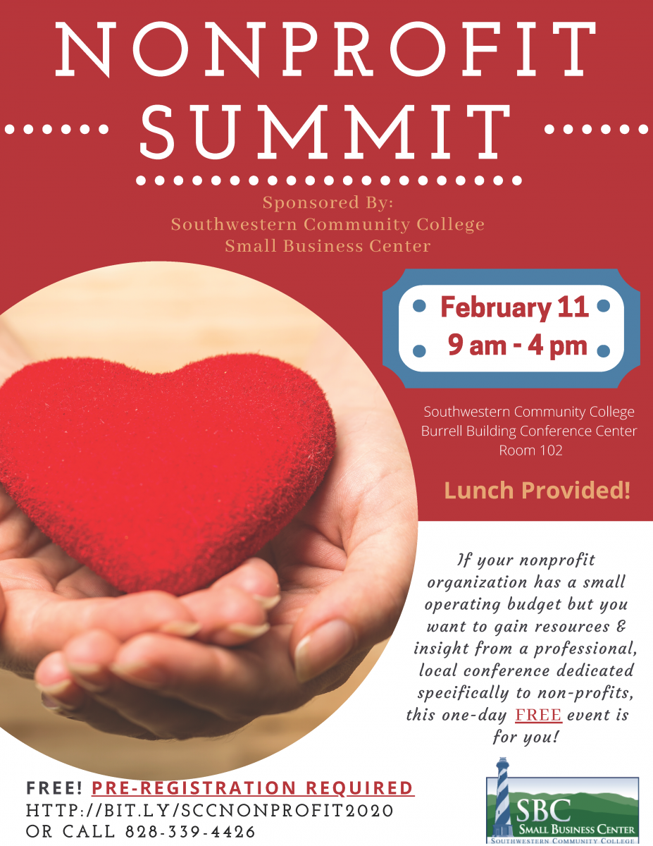 A flier advertising a workshop for nonprofit organizations. A pair of hands holding a heart.