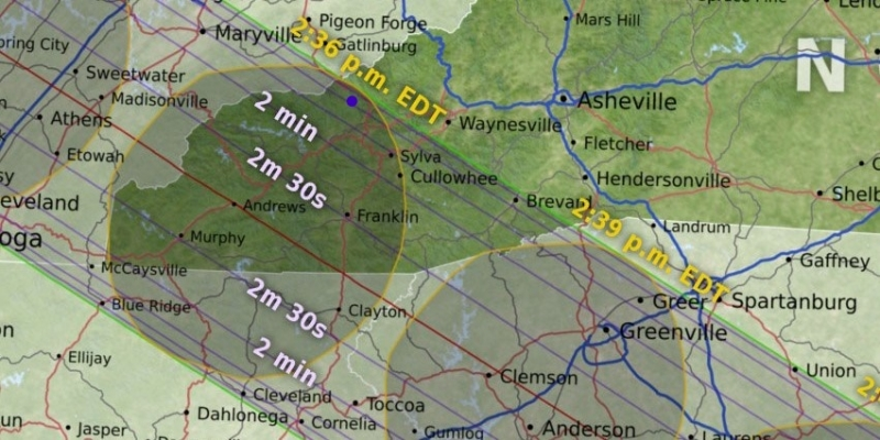 A map of time of totality for western North Carolina.
