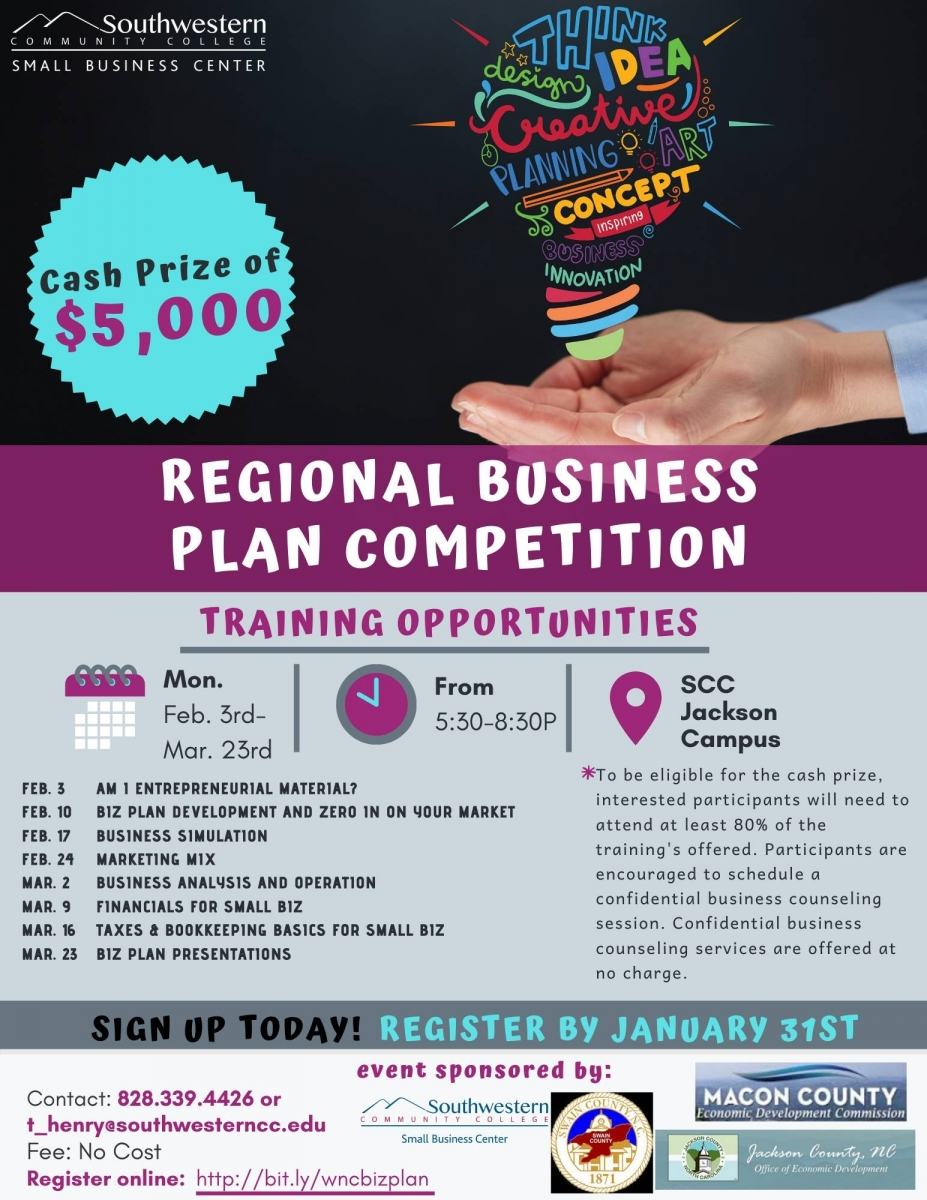 Flier advertising a regional business competition. A pair of hands holding a colorful lightbulb.