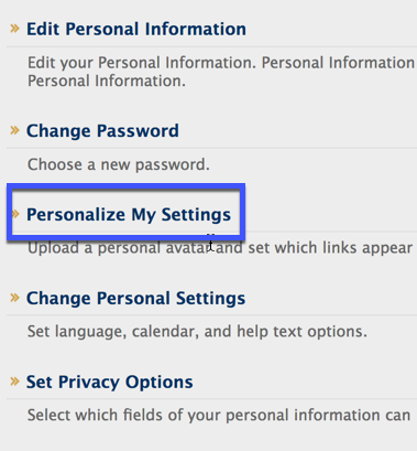 Box around Personalize My Settings