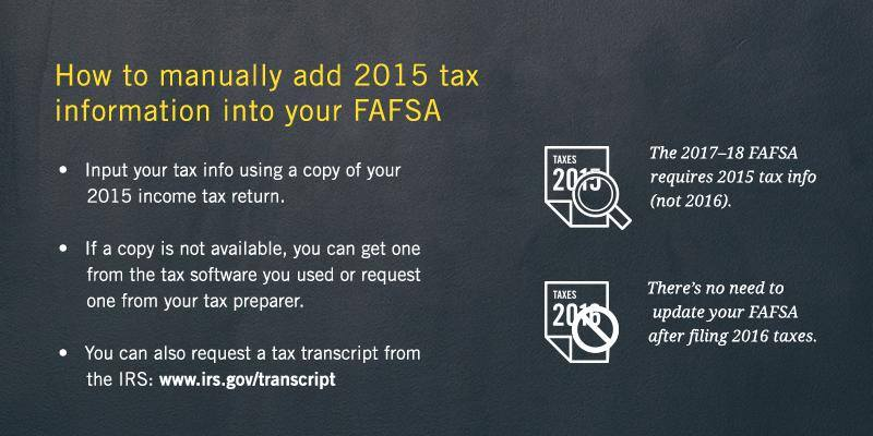 Image of instructions on how to manually add 2015 tax information into your FAFSA.