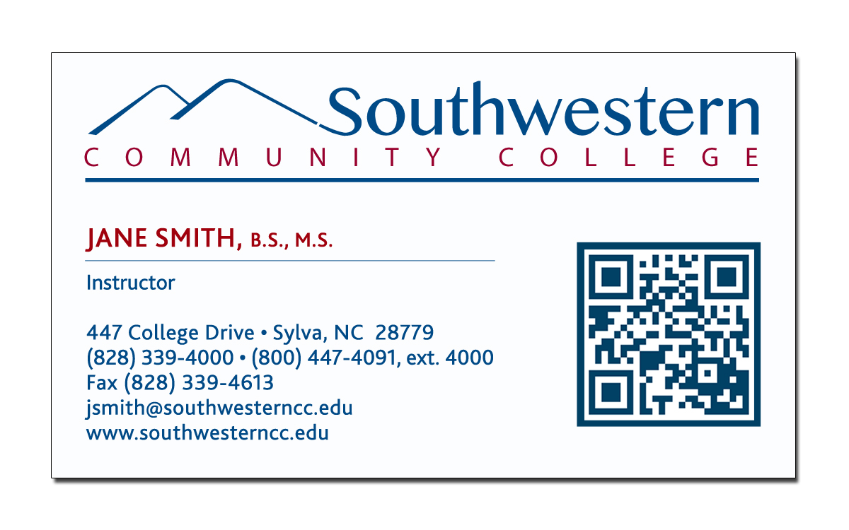 Business card request form southwestern community college for Example of a business card