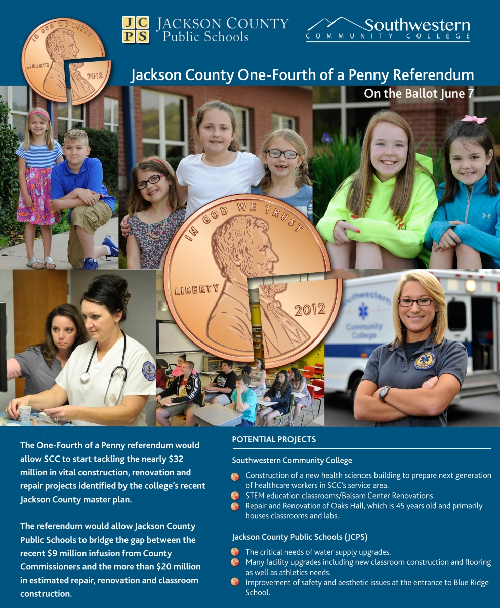Cover image of informative brochure regarding the Jackson County One-Fourth of a Penny referendum, which would provide financial support to SCC and Jackson County Public Schools if passed on June 7.