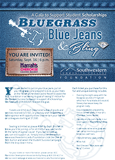 Invitation to Bluegrass, Blue Jeans & Bling gala, which is at 6 p.m. on Saturday, Sept. 16, in Cherokee