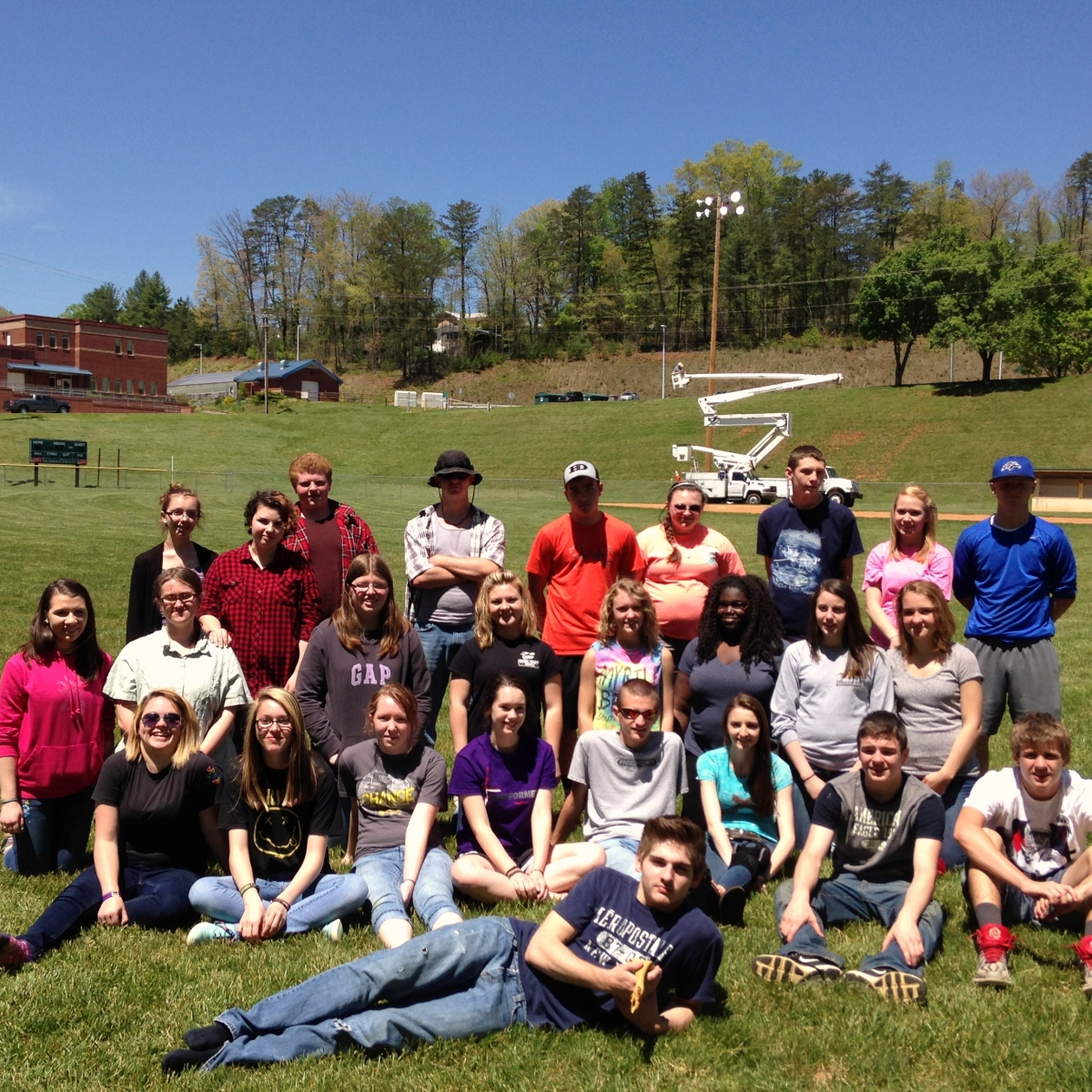 New Century Scholars during a team building exercise at Smoky Mountain High School.