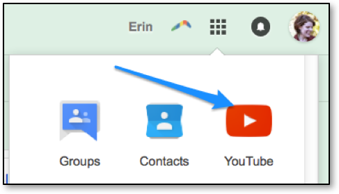 Arrow pointing to YouTube icon to select