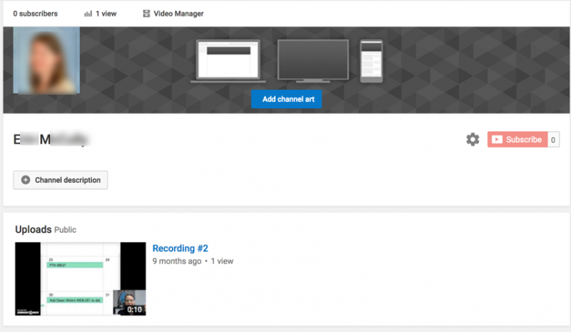 YouTube My Channel page screenshot