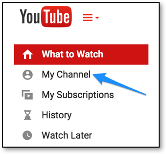 Arrow pointing to My Channel link
