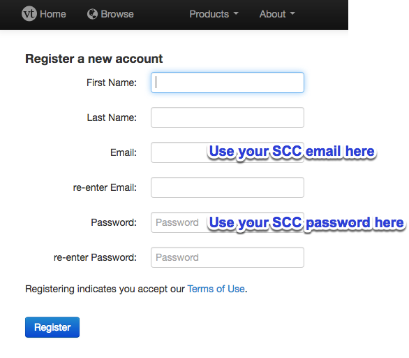 Image of registration fields for VoiceThread