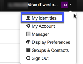 Image of My Identities option is highlighted