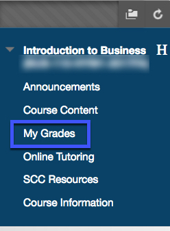 Image of course menu with My Grades highlighted