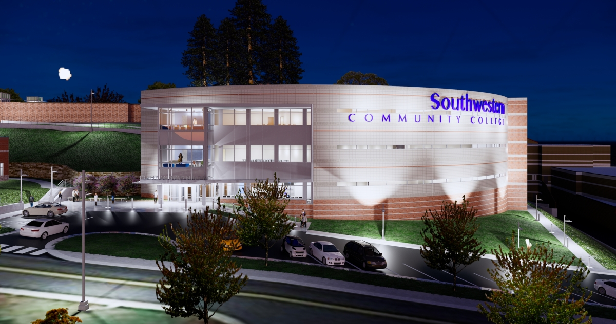 Artist's rendering of the new building shown at night.