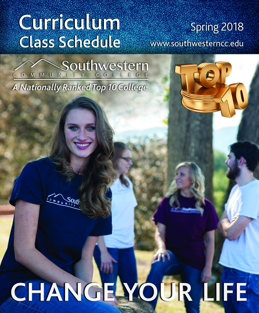 Cover image of Spring, 2018, class schedule, featuring a young woman smiling in the foreground and several students chatting in the background outdoors on SCC's Jackson Campus.