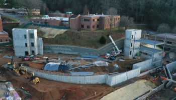 Aerial photo of construction zone.